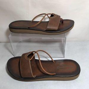 Scott Hawaii Leather Sandals Flip Flops Brown Sz 7